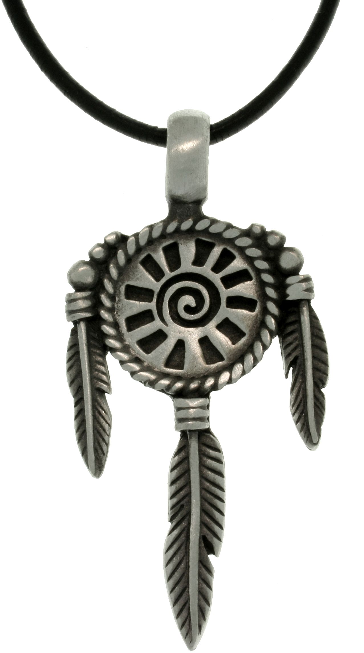 Carolina Glamour Collection CGC Pewter Sun Mandala South Western Unisex Pendant with 18 Inch Black Leather Cord Necklace