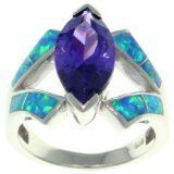 Carolina Glamour Collection CGC Sterling Silver Cubic Zirconia and Created Opal Marquise Design Ring